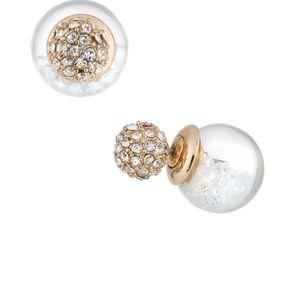 NM Clear Globe Shaker Stud Earrings